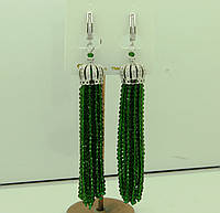 Женские зелёные серьги кисти из камней с цирконием 586