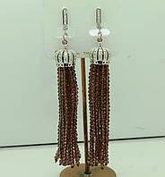Винтажные длинные серьги кисти из камней с цирконием 590