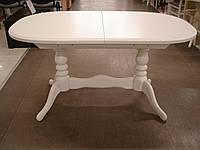 Стол раскладной Даниэль (Вавилон) белый 150(+40)x90х74 овальный деревянный