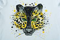 """Футболка женская, натуральная, с рисунком """"зеленый леопард"""""""