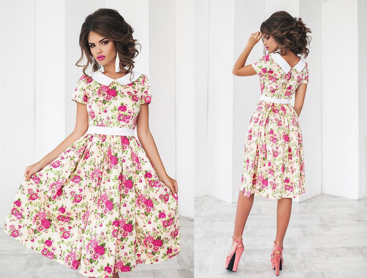 Платье миди в крупный цветок