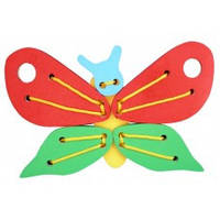 Деревянная игрушка Шнуровка Бабочка KOMAROVTOYS К 113