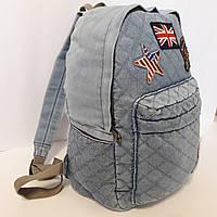 Молодежный джинсовый женский рюкзак 20 л, фото 1