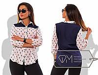 """Стильная женская рубашка в больших размерах 177-1 """"Поло Комби"""" в расцветках"""