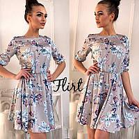 Платье с принтом Цветы (разные цвета)