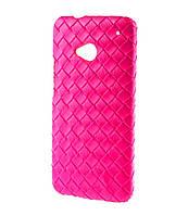 Чехол с коженой переплеткой для HTC One / M7 розовый