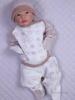"""Комплект для новорожденного в роддом """"Стиляжки"""" Lari 1-4-05-3 р.56 капучино"""