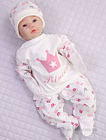 """Комплект для новорожденной в роддом """"Princess"""" Lari 1-4-06-3 р.56 молочный с розовым"""