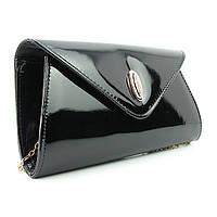 Черная лаковая сумочка овальная маленькая клатч, фото 1