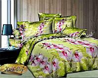 """Комплект постельного белья двуспальный евро """"Дикая орхидея""""."""