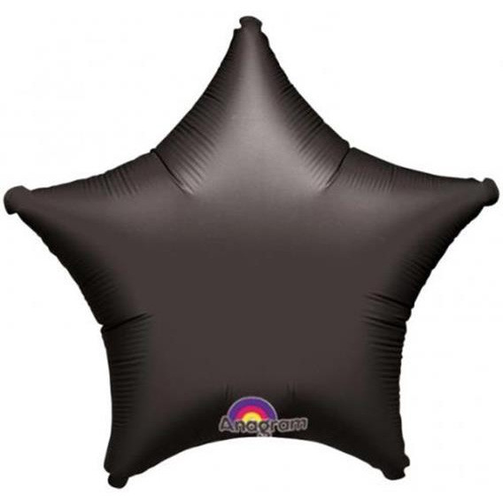 Куля фольгований зірка 46 см чорна матова (гелій)