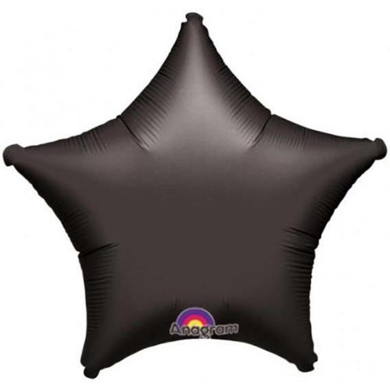 Шар фольгированный звезда 46 см черная матовая (гелий)