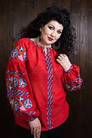 """Праздничная женская вышиванка в стиле """"Бохо"""" красного цвета"""