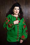"""Зеленая женская вышиванка в стиле """"Бохо"""" с динными рукавами"""