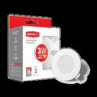 Светодиодный светильник LED MAXUS 3W теплый свет 1-SDL-010-01