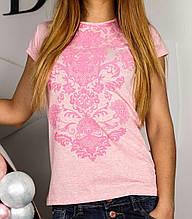 Женские футболки с цветочным принтом (белая, серая, голубая, минтоловая, розовая) S, розовый