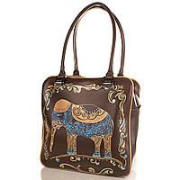 Женская кожаная сумка с ручной росписью GALA GURIANOFF GG1258 коричневая