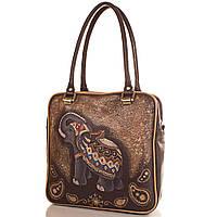 Женская кожаная сумка с ручной росписью GALA GURIANOFF GG1259 коричневая 