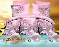 """Красивое полуторное постельное бельё """"Лебединая верность""""."""