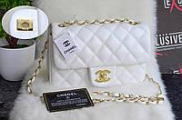 Белая сумка Шанель класик с паспортом.