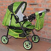 Кукольная коляска  Adbor Mini ring зелена (горох)