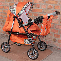 Кукольная коляска  Adbor Mini ring помаранч леопард