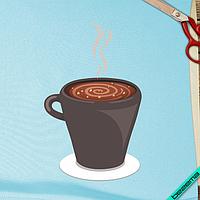 Аппликация, наклейка на ткань Кофе с орехом [7 размеров в ассортименте]
