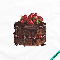 Термотрансфер для бизнеса на текстильные изделия Пирожное с клубникой [7 размеров в ассортименте]