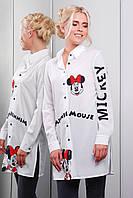 Удлиненная белая женская рубашка с принтом Minnie Mouse Марена-1 д/р