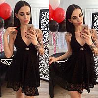 Платье летнее короткое , ткань ПРОШВА с подкладом ,открытая спина цвет черный ,супер качество нн1 №382-300