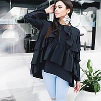 Стильная женская блузка свободного кроя с рюшами