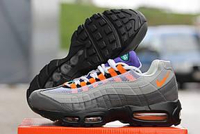 Кроссовки Nike air max 95,текстиль серые с оранжевым, фото 3