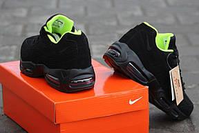 Крутые кроссовки Nike air max 95 летние черные с салатовым, фото 3