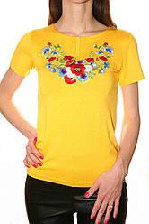 Жовта вишита жіноча футболка