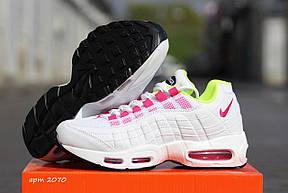Кроссовки женские (подростковые) Nike air max 95,летние, белые с розовым, фото 3