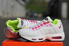 Кроссовки женские (подростковые) Nike air max 95,летние, белые с розовым, фото 2