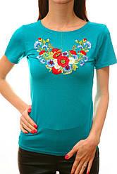 Летняя женская футболка с вышивкой