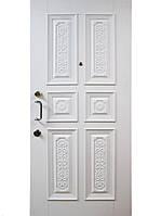 Элитные уличные входные двери (массив ясеня) модель Леон белая