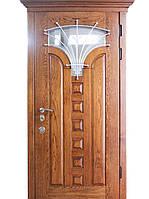 Элитные входные двери для коттеджа (массив с ковкой) модель Тюльпан