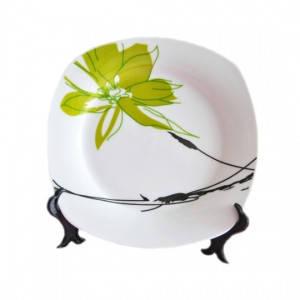 Тарелка кв Зел Цветок 200мм