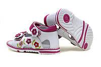 Босоножки кожаные на девочку бело - розовые р.21-26, фото 1