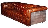 Диван Авиатор Sofa AVT40. Цвет стальной. Натуральное дерево, кожа и алюминий. Кресло в стиле Лофт. Ручная рабо