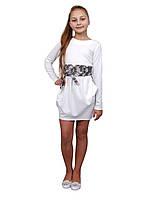 Платье  детское с длинным рукавом   М -1076 рост  140 и 152  трикотажное, фото 1