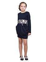 Платье  детское с длинным рукавом   М -1076 рост  152 трикотажное синее, фото 1