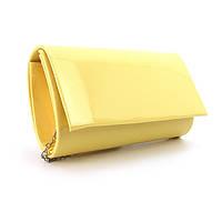 Желтый мини-клатч маленькая лаковая сумка, фото 1