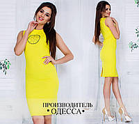 Яркое модное женское желтое платье с аппликацией на груди. Арт-1229/37