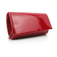 Мини сумка-клатч красная лаковая вечерняя