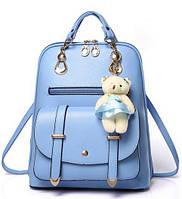 Женская сумка-рюкзак с брелком мишка