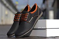 Мужские туфли в стиле Tommy Hilfiger (черные) кожаные туфли