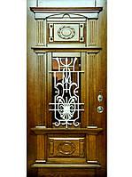 """Элитные входные двери для коттеджа (массив + ковка) модель  """"Аристократ 2"""""""